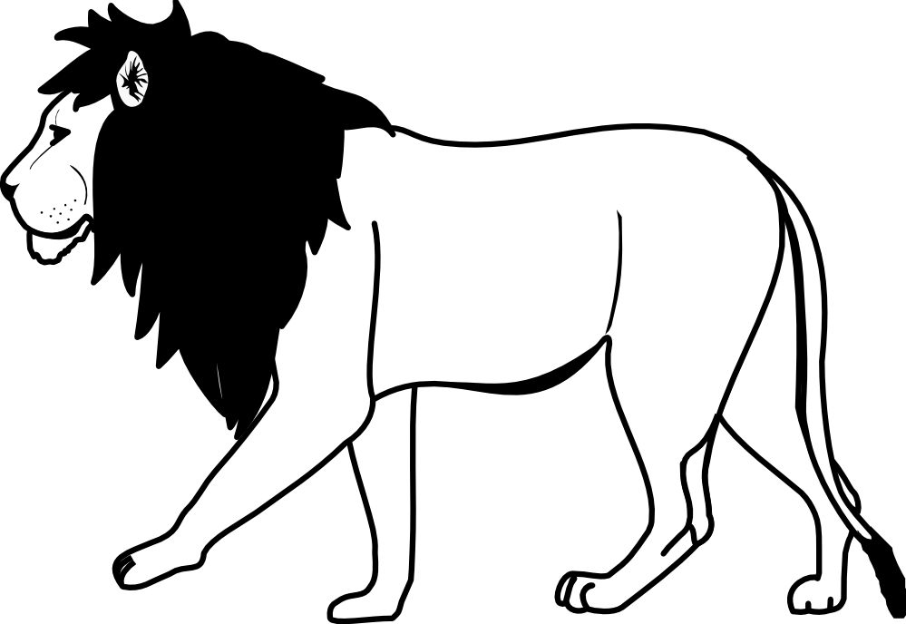 999x688 Lion Clipart Black N White