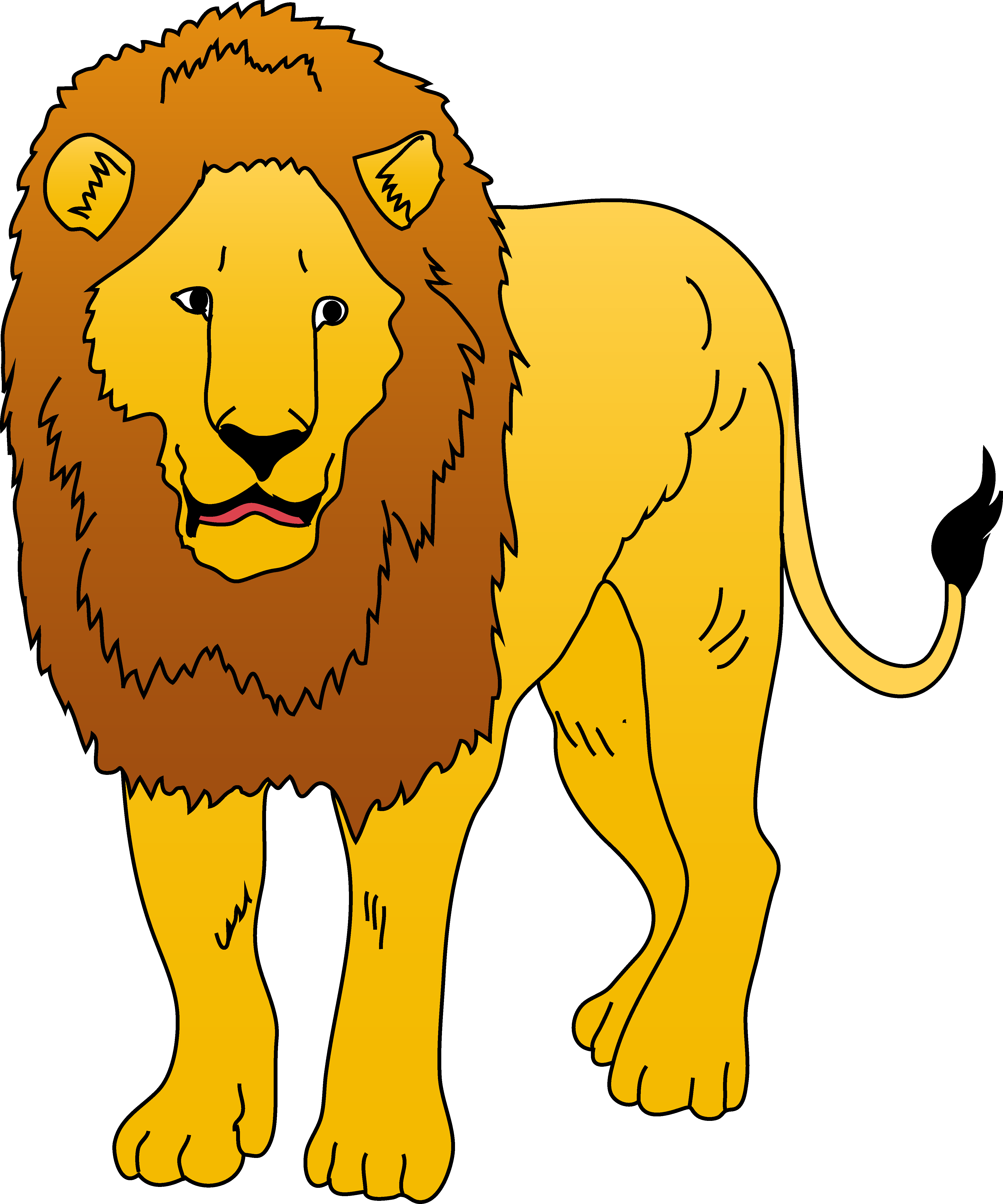 4464x5359 Golden Lion Clipart Illustration