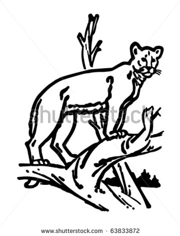 360x470 Mountain Lion Black And White Clipart