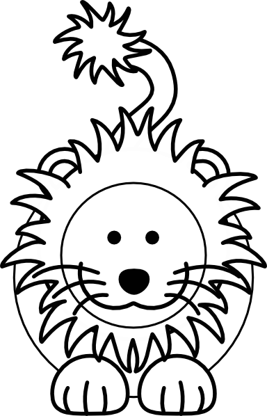 384x598 Cartoon Lion Bw Clip Art