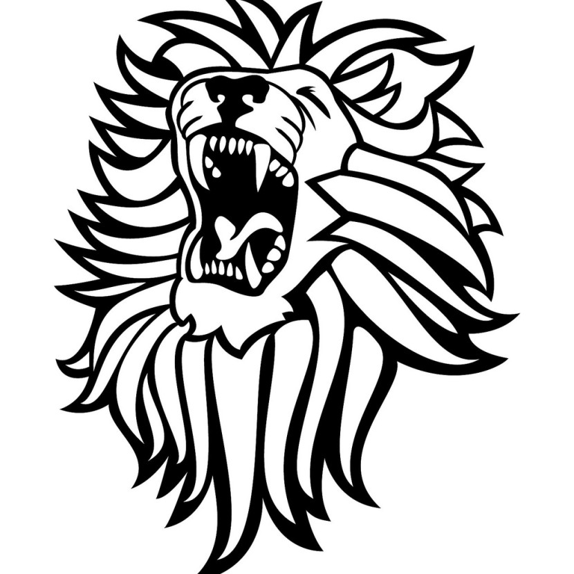 830x830 Lion black and white lion coloring page free clip art