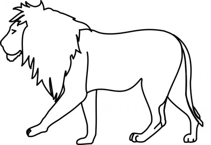 425x293 Lion Line Drawing Clipart