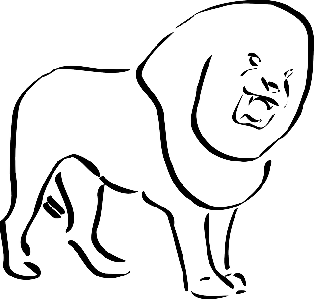 640x611 Simple, Outline, King, Lion, Art, Tail, Mane