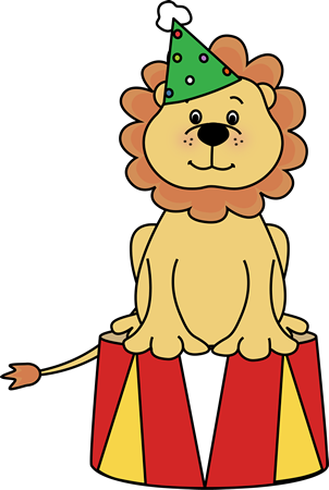 302x450 Circus Lion On A Stool Clip Art