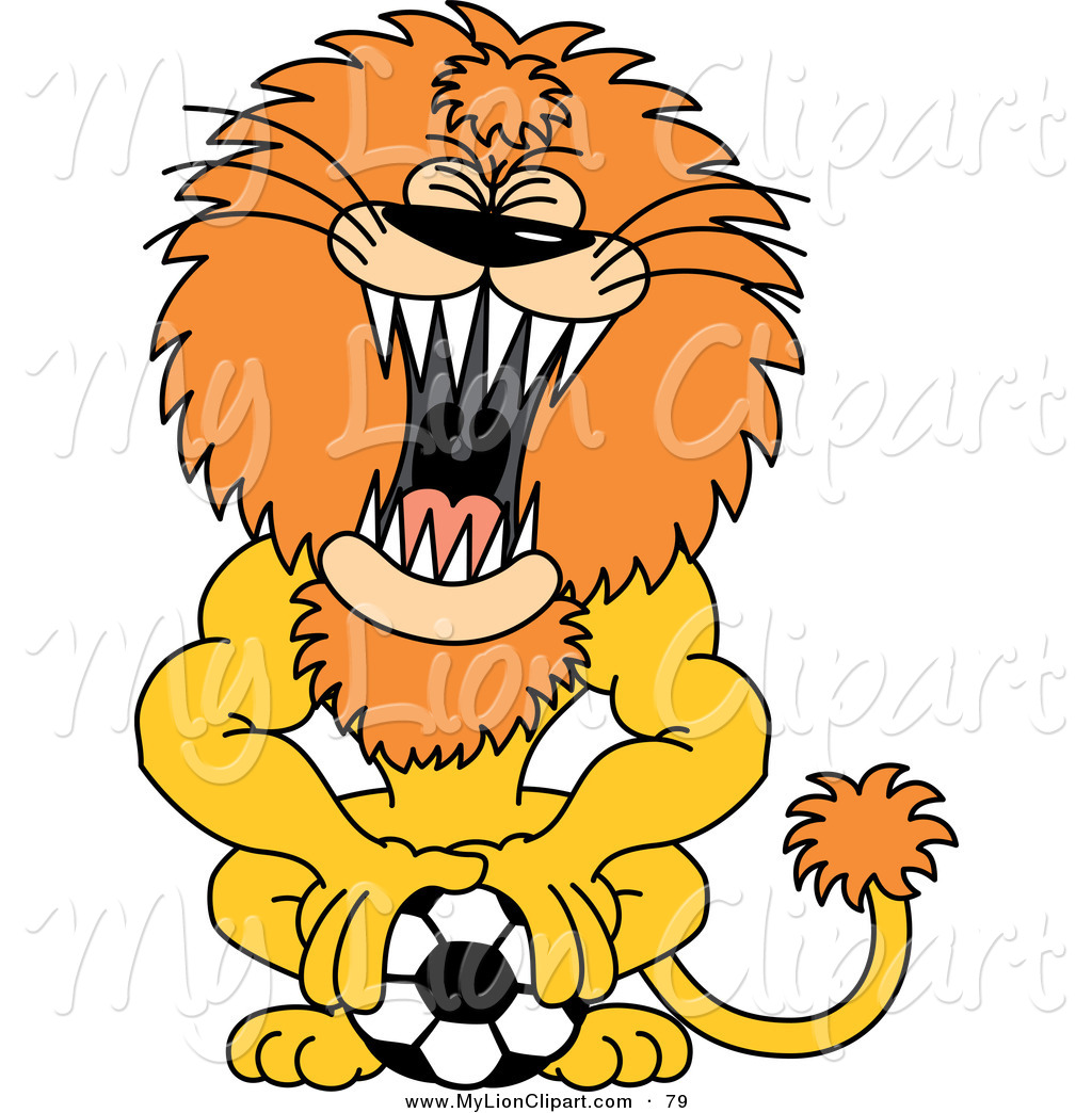 1024x1044 Clipart Of A Growling Roaring Lion Pushing Down On A Soccer Ball