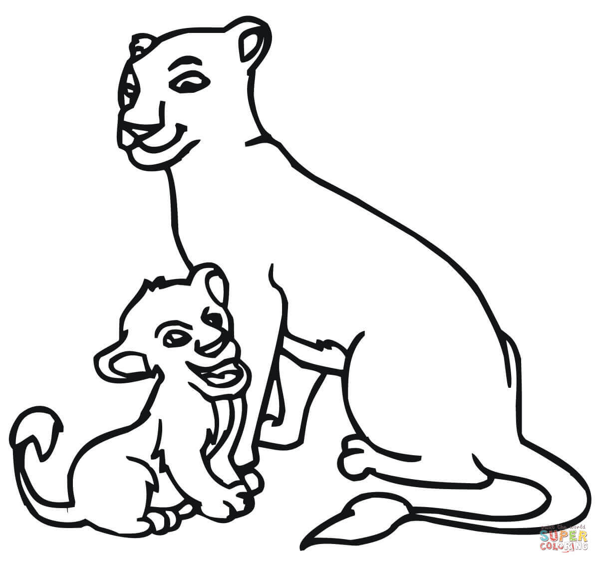1200x1128 Baby Lion And Lioness Coloring Page Free Printable Coloring Pages
