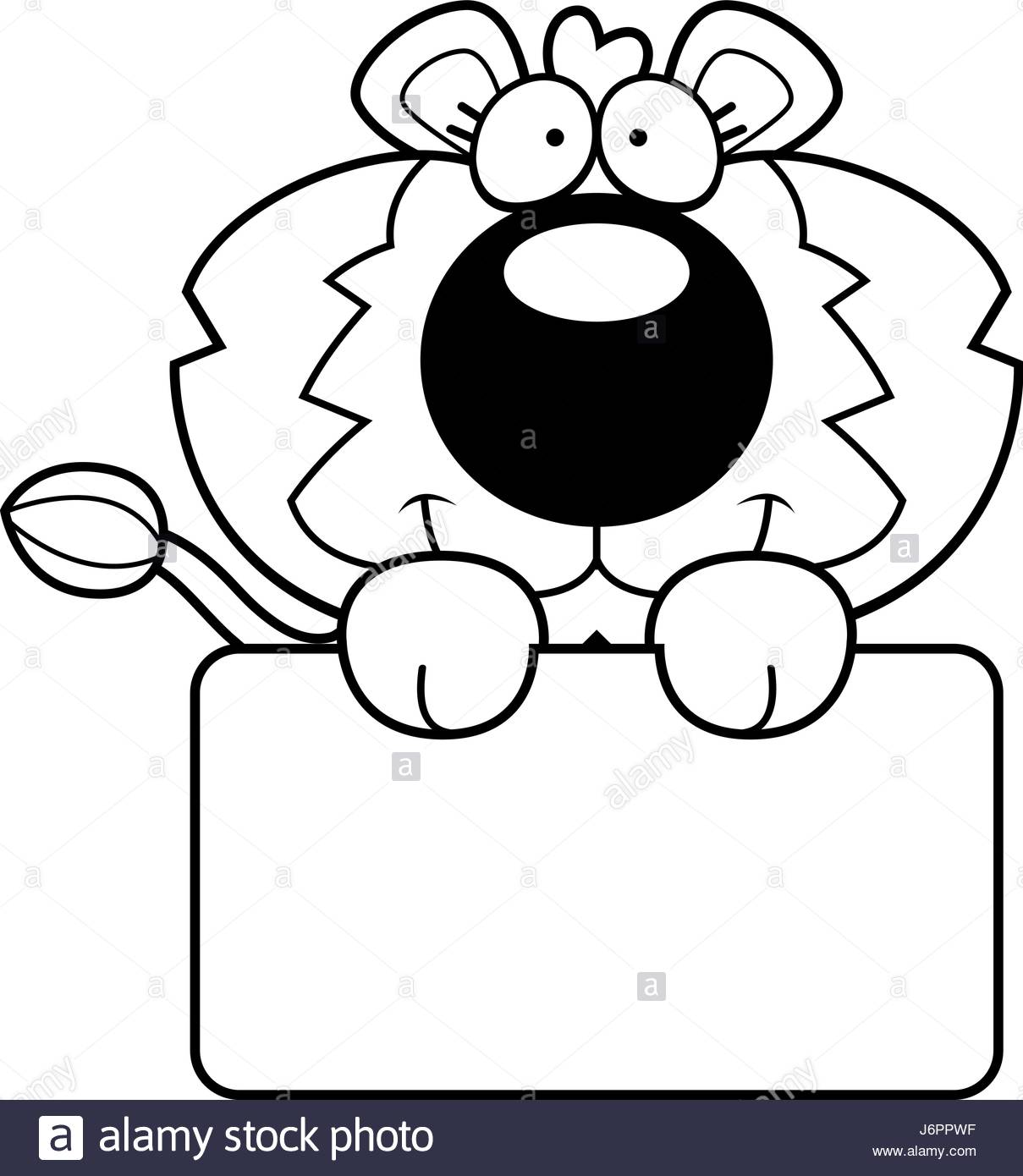 1209x1390 A Cartoon Illustration Of A Lion Cub With A White Sign Stock