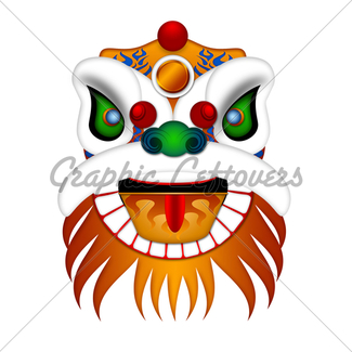 325x325 Chinese New Year Lion Dance With 2018 Scroll Illustration Gl