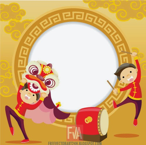 499x497 Chinese New Year Lion Dance Vector Graphics