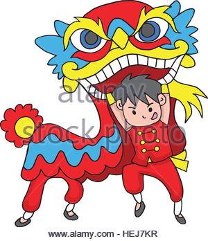 300x348 A Vector Illustration Of A Chinese Boy Dancing A Lion Dance Stock