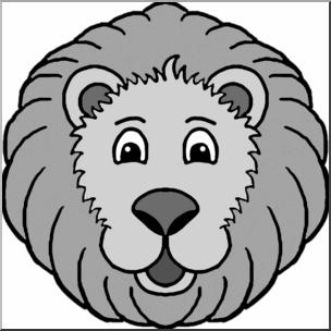 304x304 Clip Art Cartoon Animal Faces Lion Grayscale I