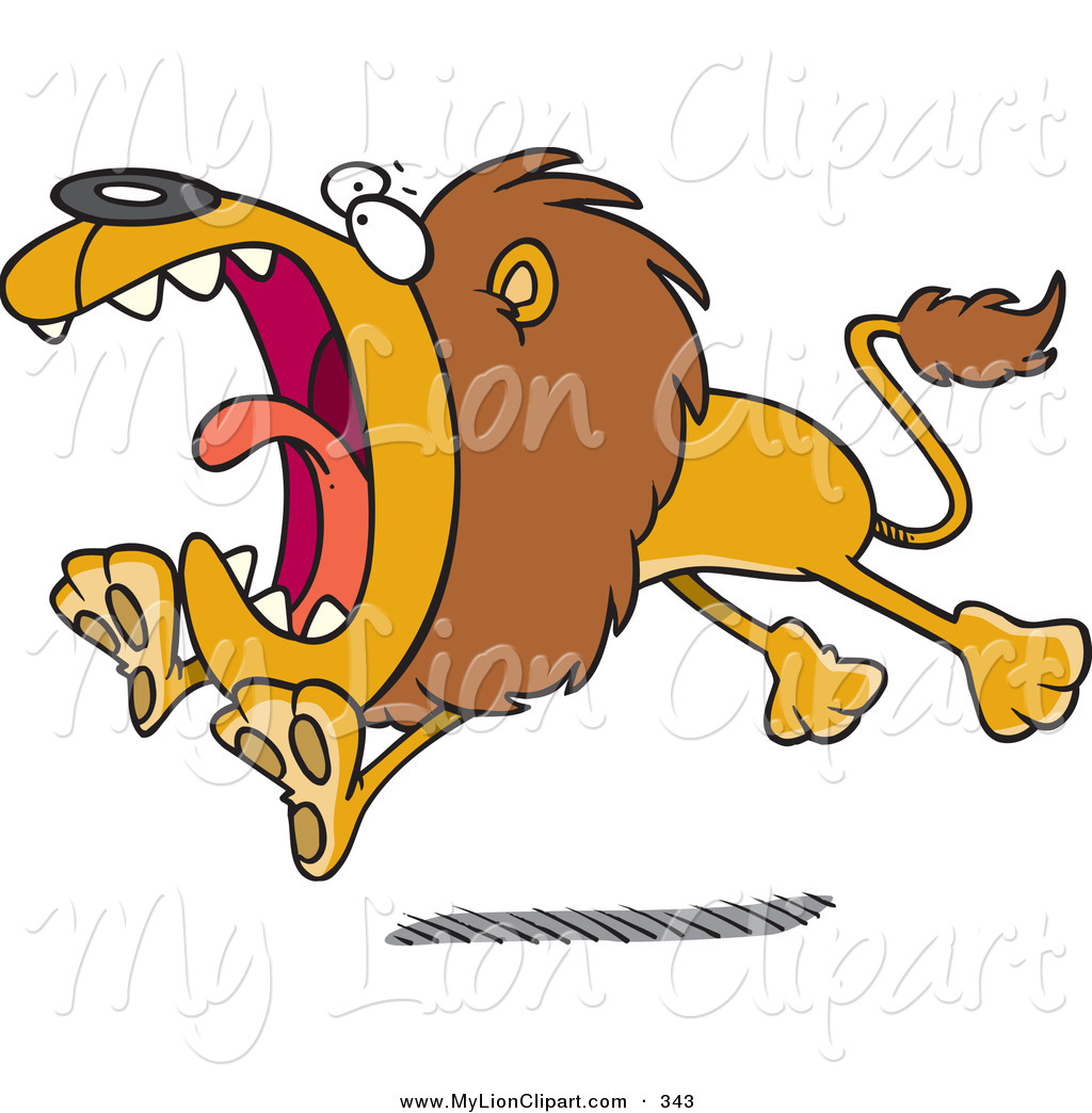 1024x1044 Clipart Of A Cartoon Attacking Lion Looking To The Left By