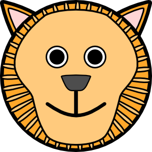 300x300 Lion Rounded Face Clip Art