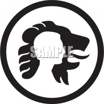 350x350 Lion Face Outline Circle Clipart