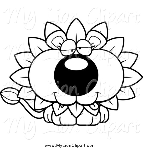600x620 Clipart Of A Black And White Dandelion Flower Lion With A Goofy