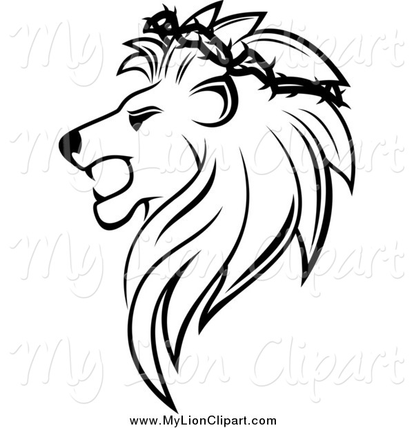 600x620 Clipart Of A Black And White Lion Head With A Thorny Wreath By