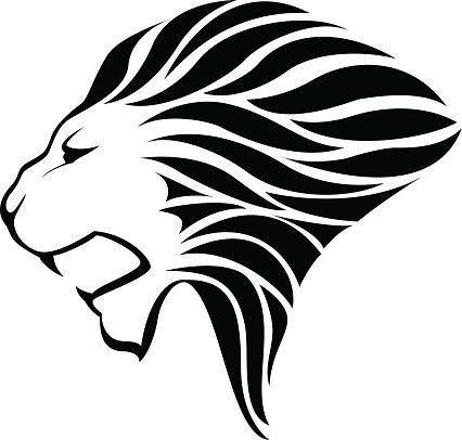 426x406 Silhouette Of A Lion Face Stencil Clip Art, Vector Images