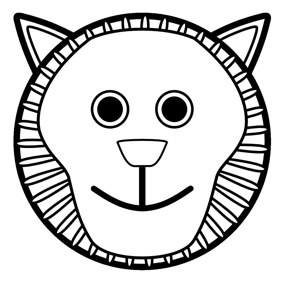 1111x1111 Clip Art Lion Black White Clipart Panda
