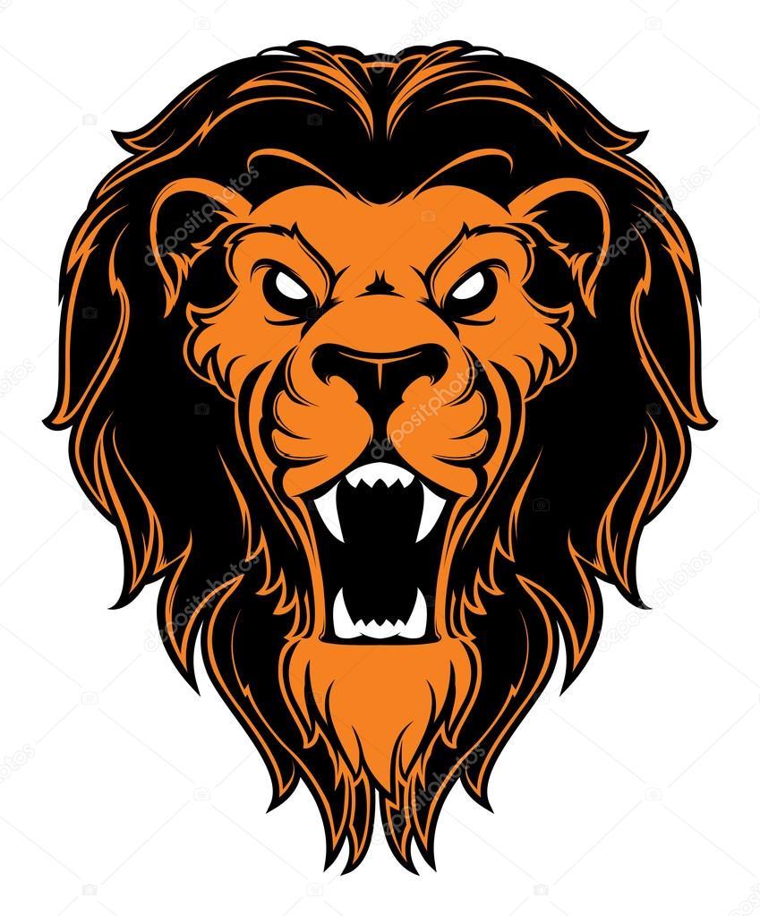 849x1023 Roaring Lion Head Mascot. Label. Logotype. Stock Vector 4ek