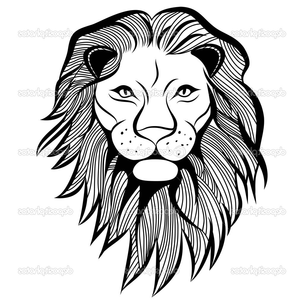 1024x1024 Simple Lion Face Drawing Lion Head Cliparts Stock Vector