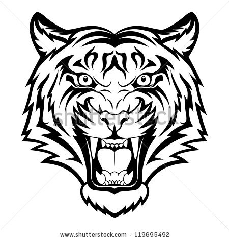 450x470 Drawn Tiger Angry Lion Face