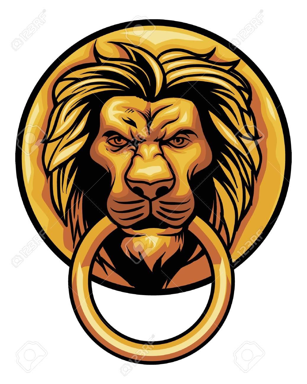 1038x1300 Lion Head Knocker Door Decoration. Royalty Free Cliparts, Vectors
