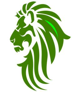 231x297 Green Amp White Lion Head Clip Art