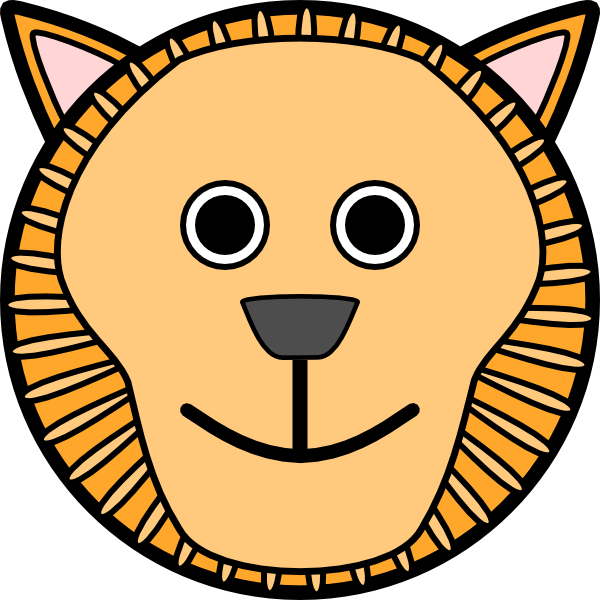 600x600 Lion Rounded Face Clip Art Free Vector 4vector