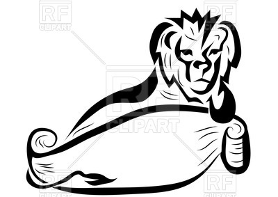 400x283 Lion with empty banner Royalty Free Vector Clip Art Image
