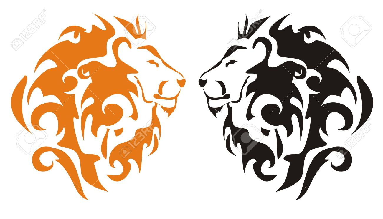 1300x744 Tribal Lion Heads, Vector Royalty Free Cliparts, Vectors, And