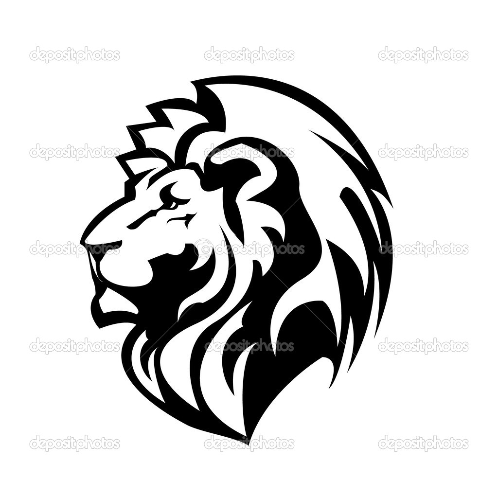 1024x1024 sided lion head clipart
