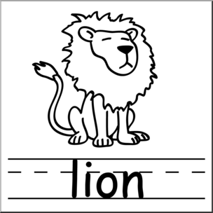 304x304 Clip Art Basic Words Lion BampW Labeled I abcteach