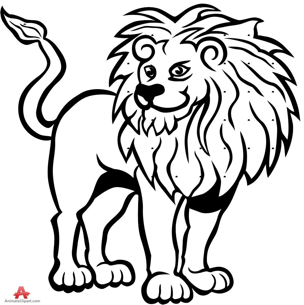993x999 Drawn lion artwork black and white