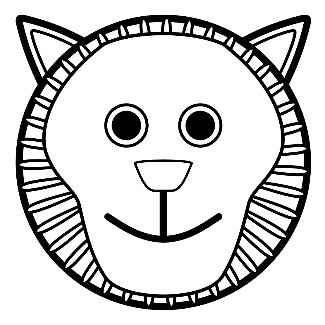 1111x1111 Lion Head Clipart Black And White Clipart Panda