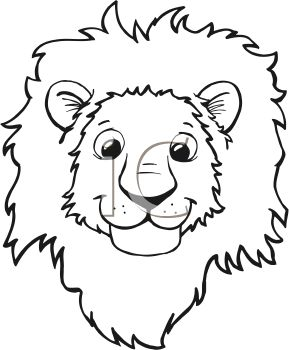 289x350 Royalty Free Clipart Image Black And White Cartoon Of A Lion's Face