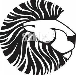 300x297 And White Lion Head Clip Art Image