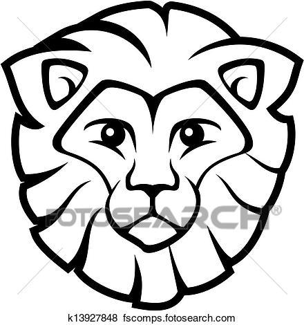 440x470 Clip Art of lion face vector k13927848