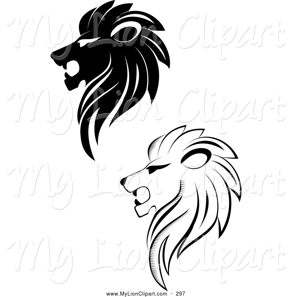 1024x1044 Clipart Of A Digital Collage Of Black And White Lion Logos