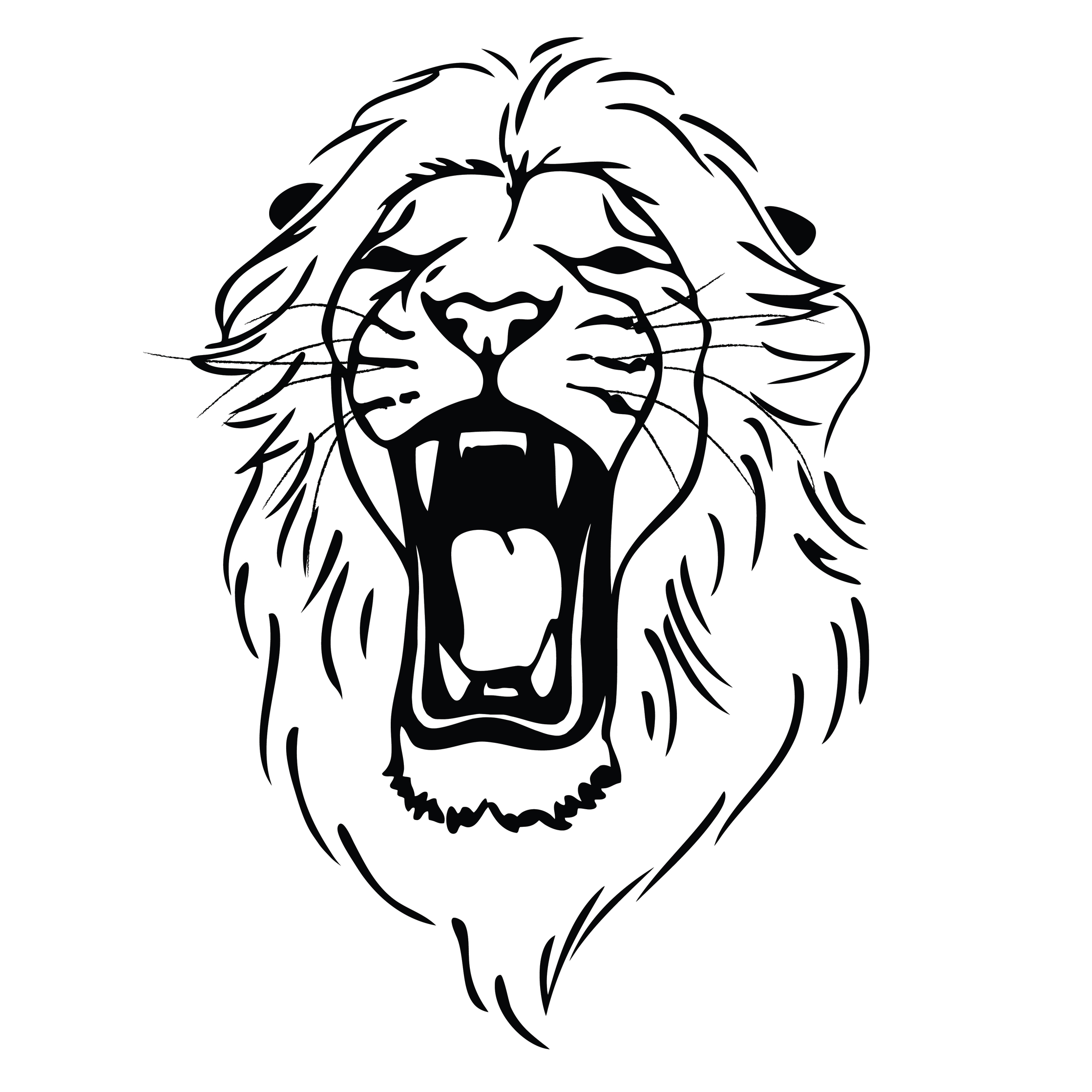 2236x2236 Drawing A Lion Head Lion Roaring Drawing Clipart Panda