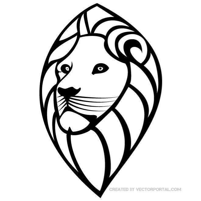 660x660 Lion's Head Vector Drawing By Vectorportal