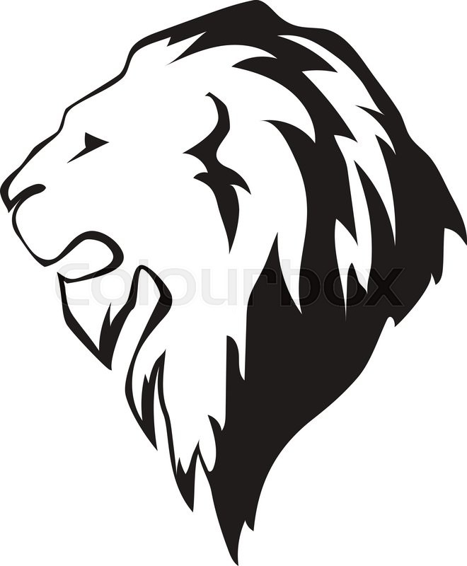 660x800 Lion Head In Profile. Template Logo For Your Design Stock Vector