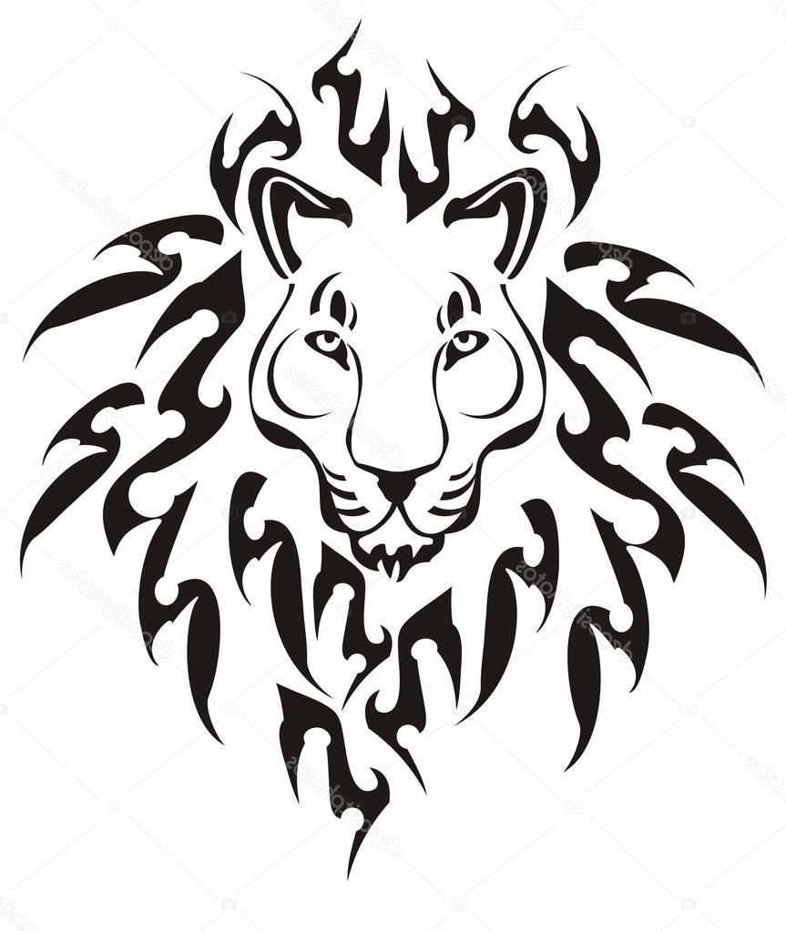 863x1023 Unique Stock Illustration Tribal Lion Head Vector Drawing
