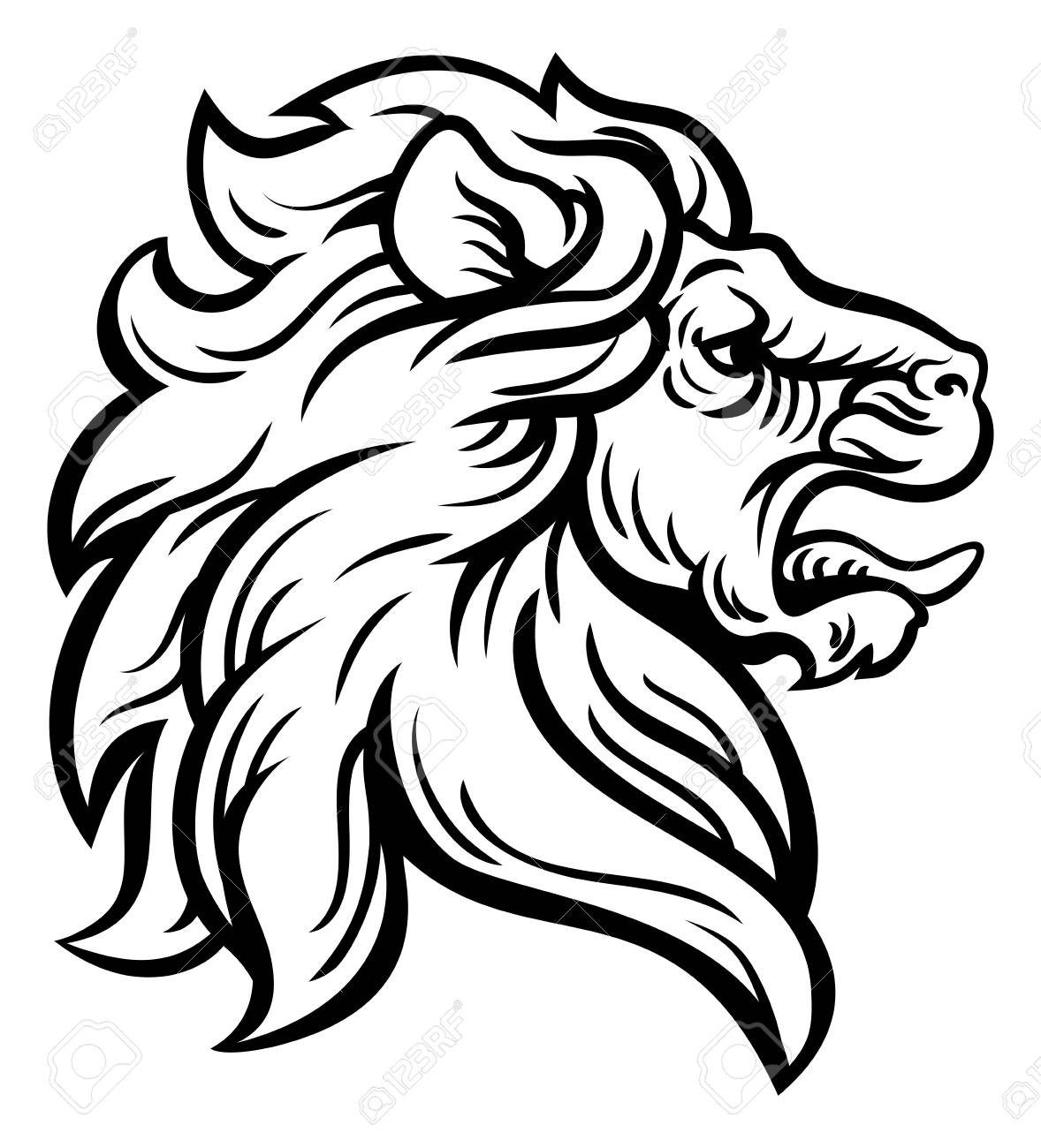 1178x1300 Woodcut Lion Head Profile Concept Royalty Free Cliparts, Vectors