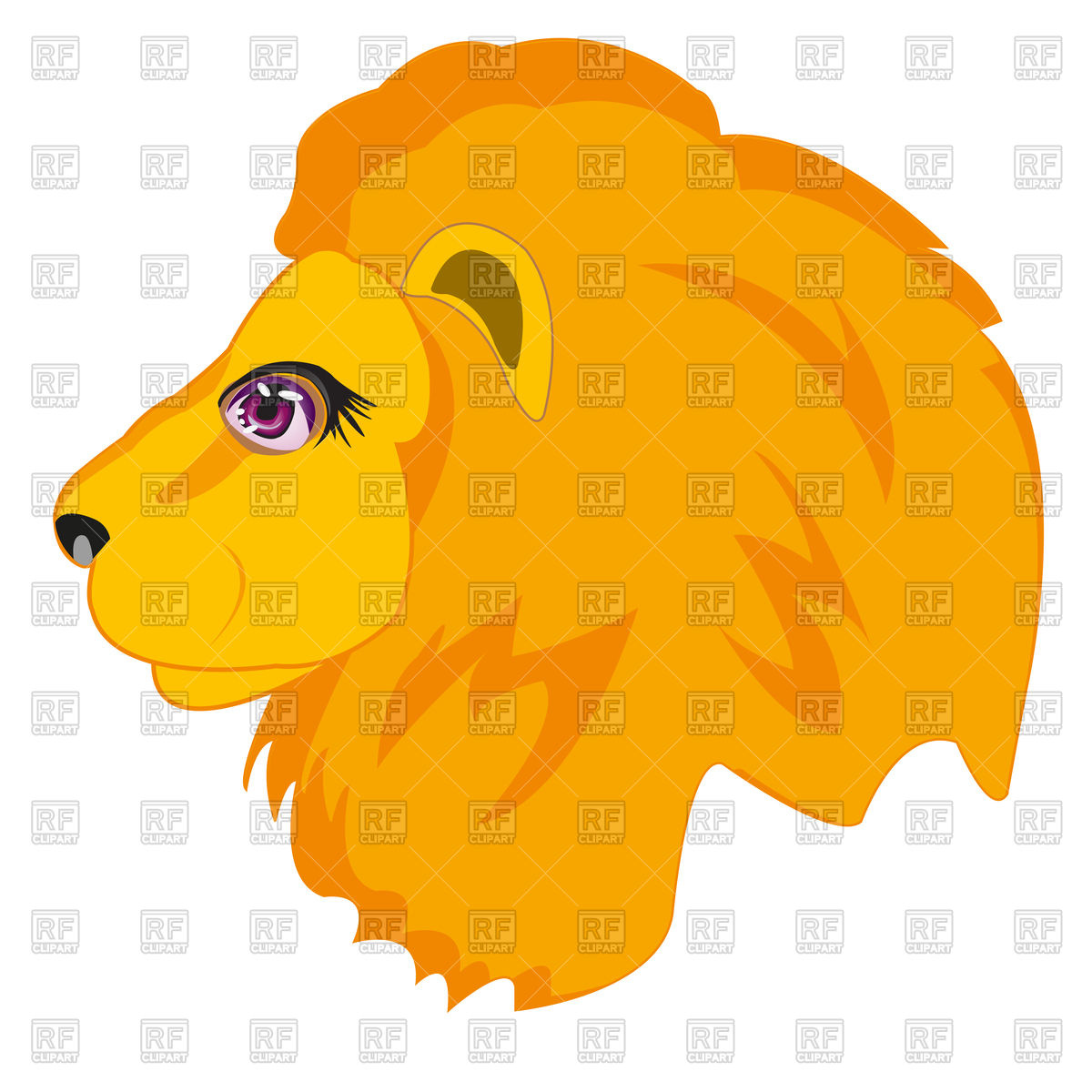1200x1200 Head Of Lion On White Background, King Of Beasts Royalty Free