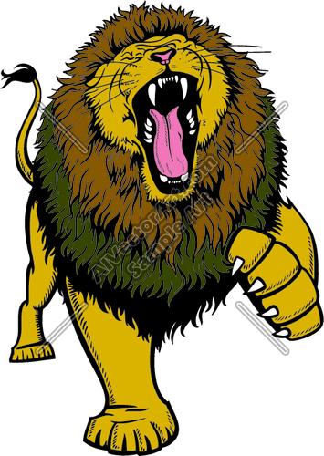 355x500 Roaring Lion Head Clipart