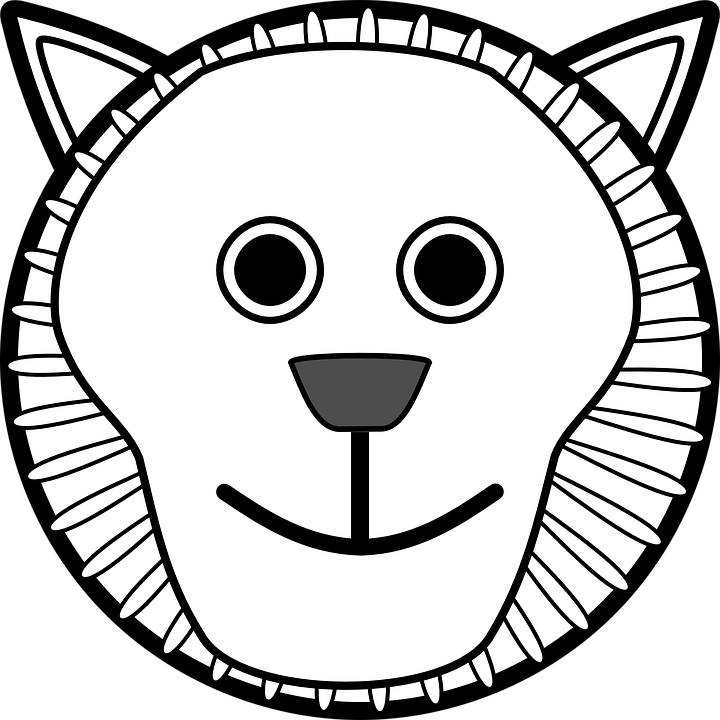 720x720 Lion Head Clipart For Kids Black And White