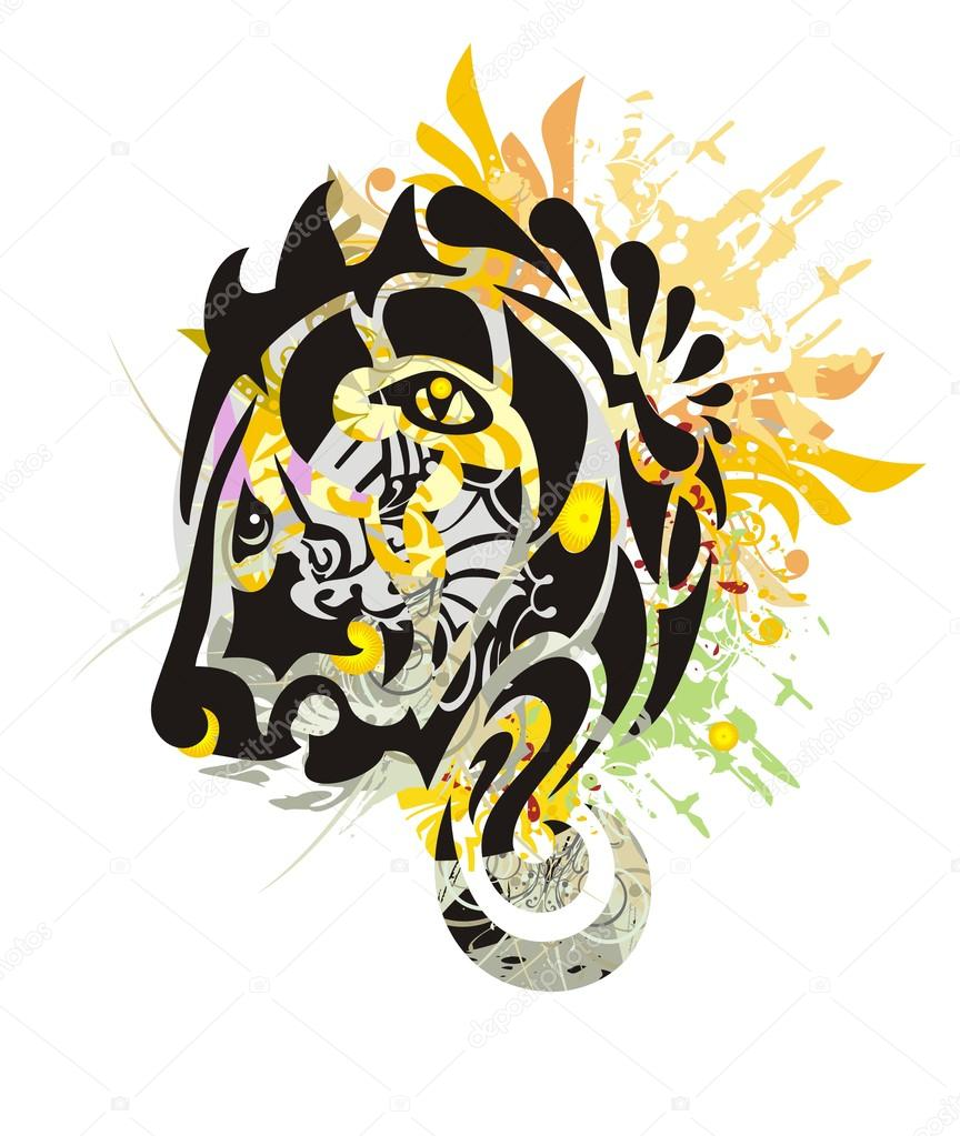 864x1023 Grunge Tribal Stylized Lion Head Stock Vector Lion21