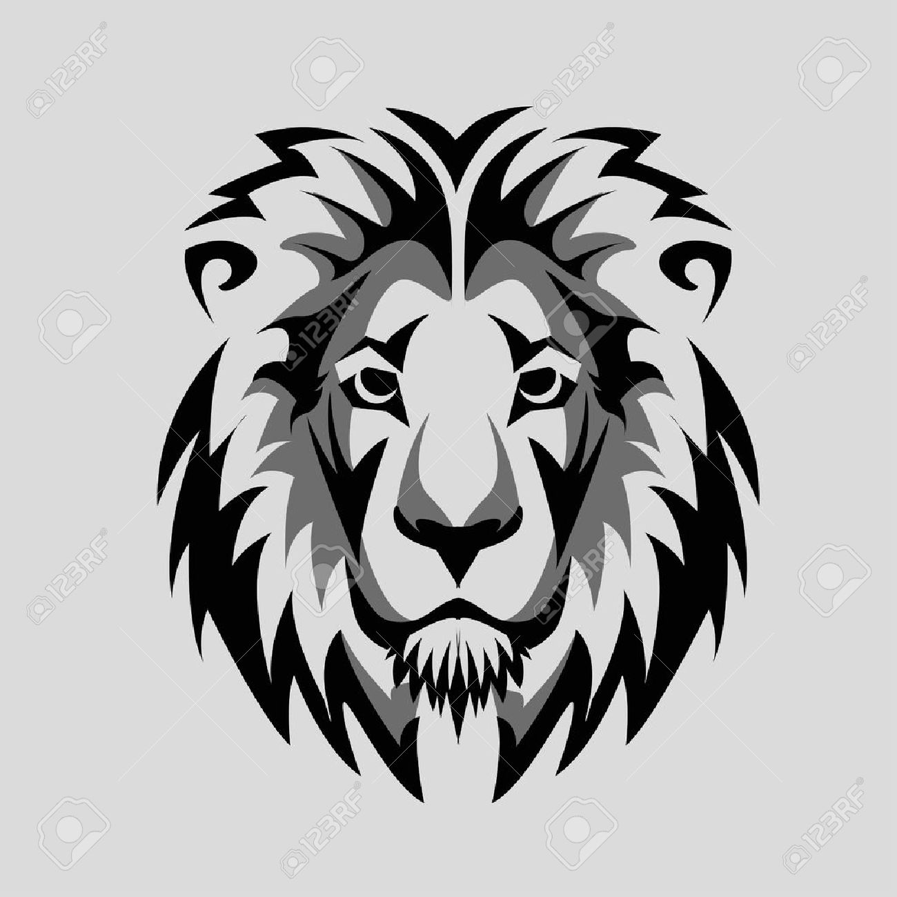 1300x1300 Lion Head Black White Icon Royalty Free Cliparts, Vectors,
