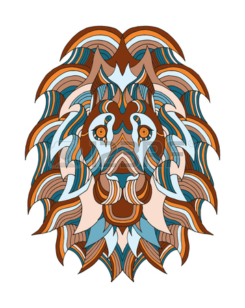 358x450 Lion Head Zentangle Stylized, Vector, Illustration, Freehand