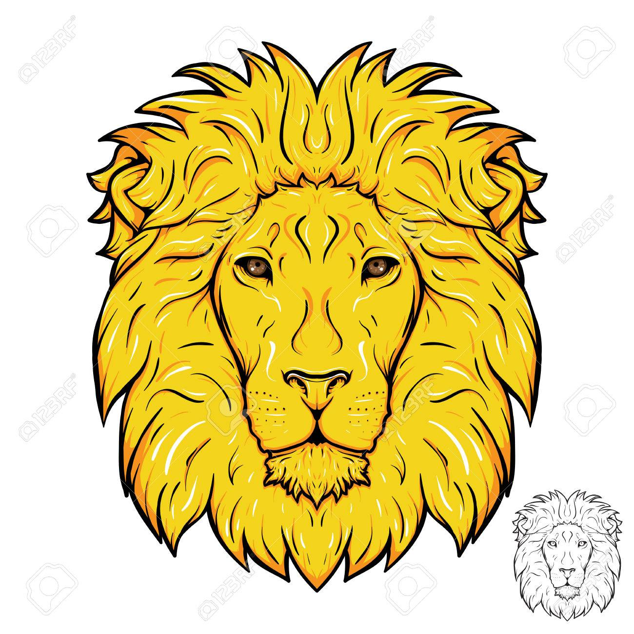 1300x1300 Lion Head. Gold Mane. Royalty Free Cliparts, Vectors, And Stock